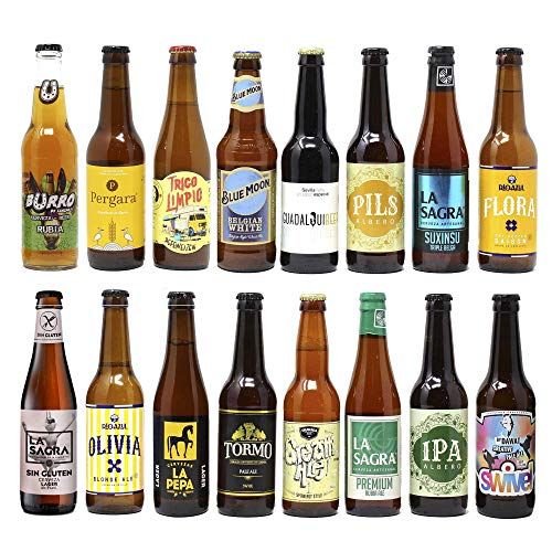 Pack de 16 cervezas artesanas Rubias. El mejor regalo. Incluye Granada Beer Cream Ale, Medalla de Oro en Barcelona Beer Challenge 2020 categoría STANDARD AMERICAN