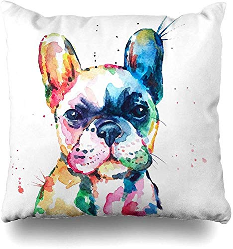 Throw Pillow Covers White Frenchie French Bulldog Original Watercolor of Dog Funny Happy Puppy Rainbow Outdoor Square 16 x 16 Inch Cushion Cases Home Pillowcases