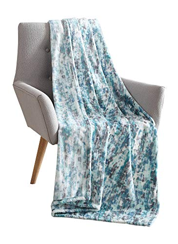 Decorative Hues of Blue Throw Blanket: Soft Plush Velvet Fleece Abstract Rain Accent for Couch or Bed, Colored: Teal Blue Aqua Turquoise Grey White