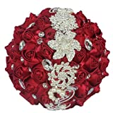 Flonding Wedding Bouquets Crystal Satin Rose Bride Bridal Bouquet Romantic Bridesmaid Holding Flower for Valentine's Day Confession Party Church Decor (Wine Red)