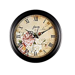 Zaoniy 12 Inch Silent Non-Ticking Retro Quartz Decorative Wall Clock Battery Operated Round Clock for Living Room,Office, Home,Kitchen(Roman Numerals,Flower)