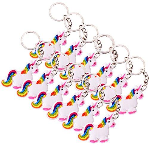 TE-Trend 12 Stück Schlüsselanhänger Regenbogen Einhorn Pferd Kette Ring Keychain Rainbow Unicorn Mädchen Geburtstag Mitgebsel