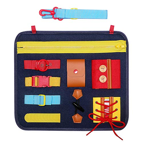 SIMBOOM Toddlers Busy Board, Basic Skills Activity Board for Early Learning Life Skills - Developmental Toys with Zippers, Buttons, Buckles for Kids Holiday Gifts,Blue