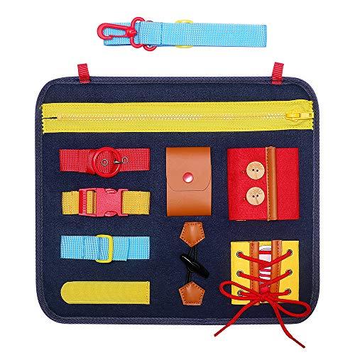 Simboom Busy Board Panneau Educatif Jouets pour Enfant, Apprentissage Précoce de Compétences de Base, Apprentissage Concernant la Fermeture à Glissière, Bouton et Boucle (Bleu)