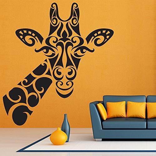 Calcomanía de pared de jirafa flor Tribal estilo retro vinilo ventana pegatina dormitorio de niños decoración del hogar Animal arte mural creativo