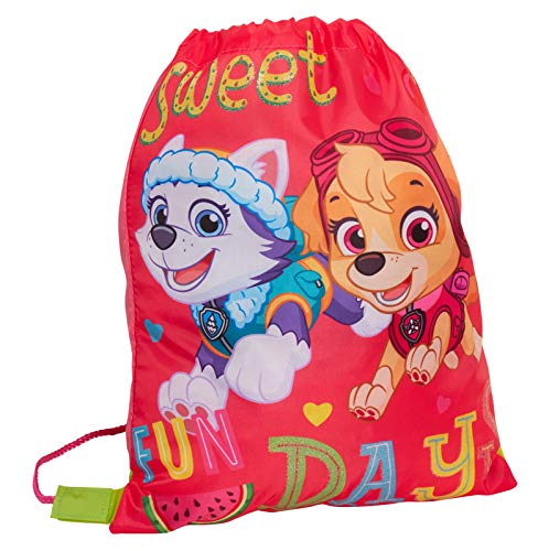 Girls Paw Patrol Drawstring Gym Bag Kids Skye Everest Nursury School Swim Bag PE Kit Trainer Backpack