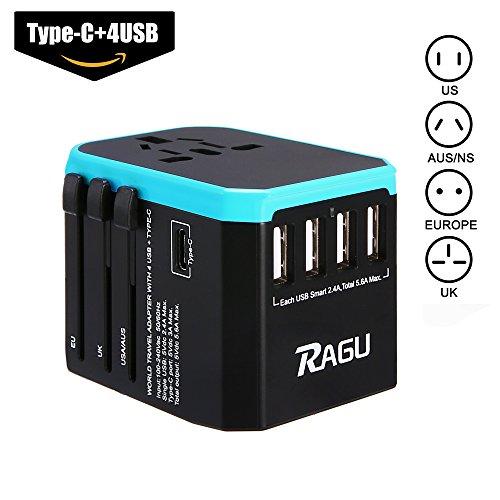 RAGU Universal Reiseadapter Weltweit, Reisestecker mit 4 USB Ports 1 Typ-C Internationale USB Reiseadapter Internationale Ladegerät AC Ladestecker Ladegerät für Weltweit 150 Ländern