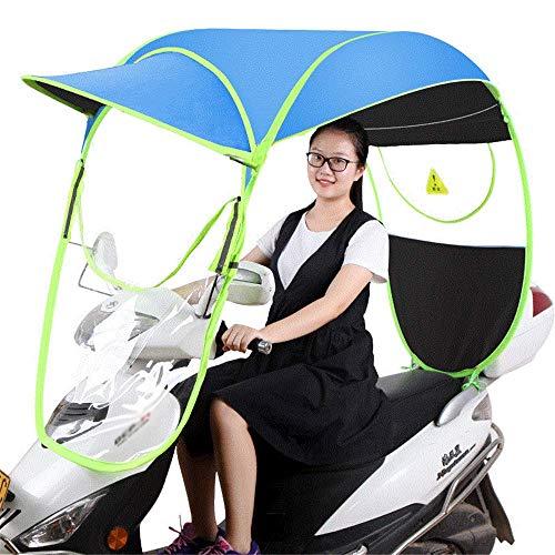 YLKCU Fundas para Motos Carcasa Transparente para Coche Eléctrico, Mobility Scooter Sun Rain Wind Cover, Cubierta Universal para Parasol para Motocicleta Eléctrica, Azul, Tiene Espejo Retrovis