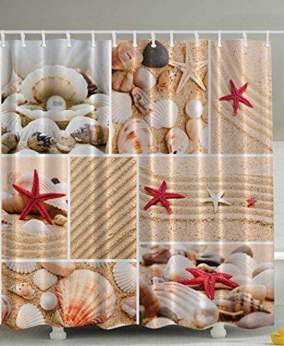 Jolly2T Seaside Decor Sea Star Sea Rock Limpet Honeymoon Bathroom Art Prints Beach Shell Photos Print Aquatic Deluxe Fabric Shower Curtain Burgundy Sand Khaki Cream