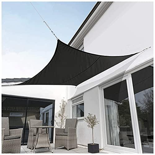 Rectángulo Toldo Vela Malla Sombreo Impermeable con Kit de Montaje 95% Bloque UV para Terraza Camping Jardín al Aire Libre Gris Tela de Oxford Varios tamaños 2m,3m,4m,5m Toldo(Size:5 * 6m(16'*20'))