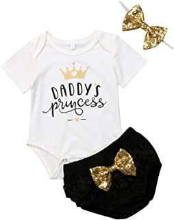 3PCS Newborn Baby Girl Daddys Princcess Romper Bodysuit Ruffle Floral Tutu Shorts Pants Headband Summer Outfits Clothes Set