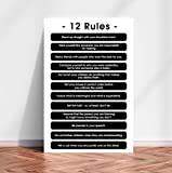 12 Rules for Life Poster, 12 Principles From Jordan Peterson Wall Art. Teacher Gift Quote Wall Art Decor Poster Print Education Life