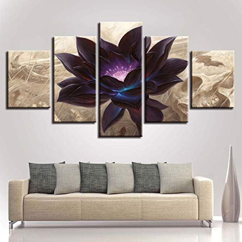 RMRM Lienzo Modular Impresiones HD Poster Wall Art 5 Unidades Negro Loto Fotos Salón Decoración Flor Abstracta Marco de la Pintura 20x35cm20x45cm 20x55cm