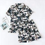 AOQW Pijama De Mujer Sección Delgada Pantalones Cortos De Manga Corta Gran Estampado Floral Pijama Servicio A Domicilio Damas Pijamas-11_M
