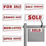 6 Pack Real Estate Sign Riders Sleeves, 17' x 5'-Double Sided-PVC Plastic-Sold Sign, For Sale Sign, Open House Sign, Coming Soon Sign, New Listing Sign, Sales Pending Sign- Real Estate Agent Supplies
