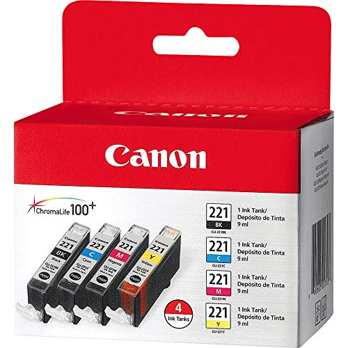 CLI-221 Four Color Pack 'Canon CLI-221 Four Color Pack Compatible to MP980, MP560, MP620, MP640, MP990, MX860, MX870, iP4600, iP3600, iP4700'
