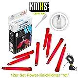 KNIXS 12er Set Premium Power-Knicklichter in rot leuchtend inkl. Spezialhaken und Befestigungsband für Party, Festival, Outdoor oder als Dekoration