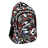 Backpacks for Women and Men, Camouflage School Backpack Multifunctional Hiking Backpack Travel Daypack Outdoor Bags (Red)