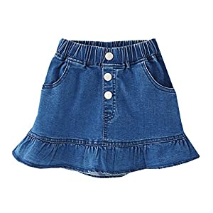 lilii kupulau ガールズ デニム マーメイドスカート ショート丈 ペプラム ミニ フレア スカート (120)