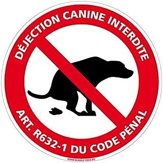 Adhésif Déjection Canine Interdite Selon L'Article R632-1 Du Code Pénal - Diamètre 170 mm - Protection Anti UV