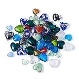 Beadthoven - 100 cuentas de cristal con forma de corazón de lámina de plata de 12 a 21 mm