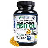 Natural Antarctic Wild Caught Omega 3 Fish Oil DPA-EPA-DHA Supplement by Ecostream Naturals - 2,900 Milligrams Triple Strength Ultra Pure Concentrated Soft-Gels - No Fish Tasting Burps