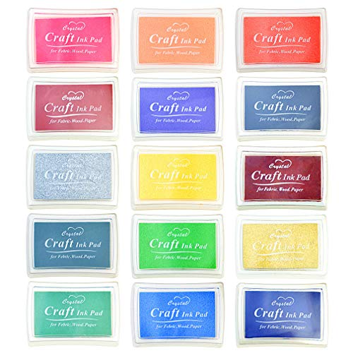 Yolyoo 15pcs Stamp Pads Colourful Craft Ink Pad Rainbow Finger Ink pad for DIY Rubber Stamps, Paper, Wood Fabric