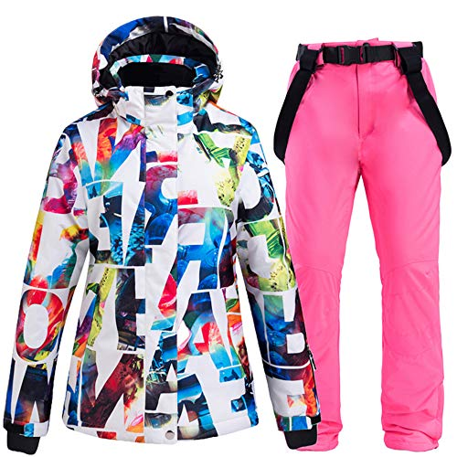 Skipak dames winter warm ski-jack + bretels, skibroek winddicht, waterdicht, ritssluiting, warm snowboard outdoor
