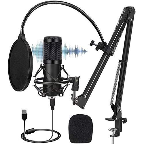 USB Podcast Condenser Microphone, professional 192KHZ/24Bit Studio Cardioid Condenser Mic Kit with sound card Boom Arm Shock Mount Pop Filter, for Skype YouTuber Karaoke Gaming Recording