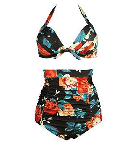 Waroom 2018 Vintage Ruched 50s Womens Traje de baño de Talle Alto - Solid Acanalada Halter Bow Bikini de Dos Piezas -...