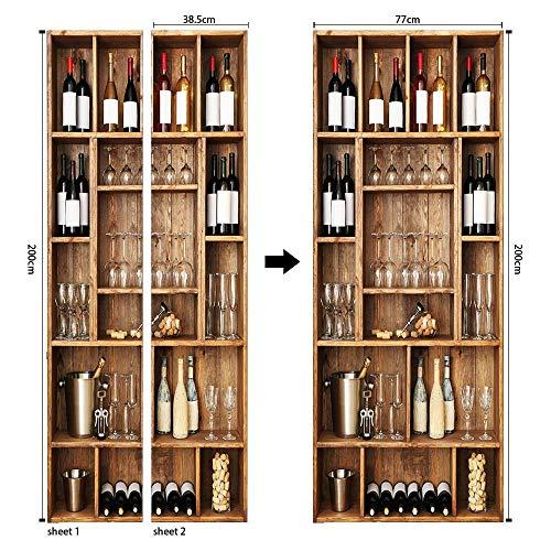 REXZIUI Vinoteca vintage color café Decoración de la etiqueta engomada de la puerta 3D para la cocina, la sala de estar, el dormitorio, la etiqueta engomada de la puerta del baño (77*200cm)