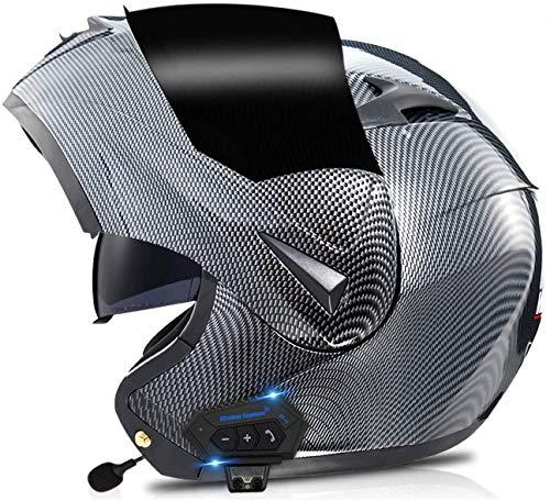 ZYQZYQ Casco Modular de la Motocicleta con el Sistema de comunicación Integrado Integrado de MP3 Incorporado de Bluetooth y Auriculares de Doble Altavoz, Dot Aprobado por Cascos con Doble Visera