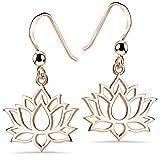 Pendientes colgantes Materia de flor de loto de plata de ley 925 en plata, oro rosa o oro amarillo,...