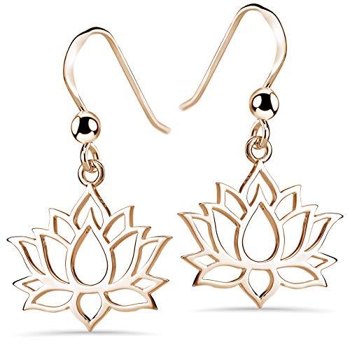 Pendientes colgantes Materia de flor de loto de plata de ley 925 en plata, oro rosa o oro amarillo, para mujeres y adolescentes, Chapado en oro rosa,