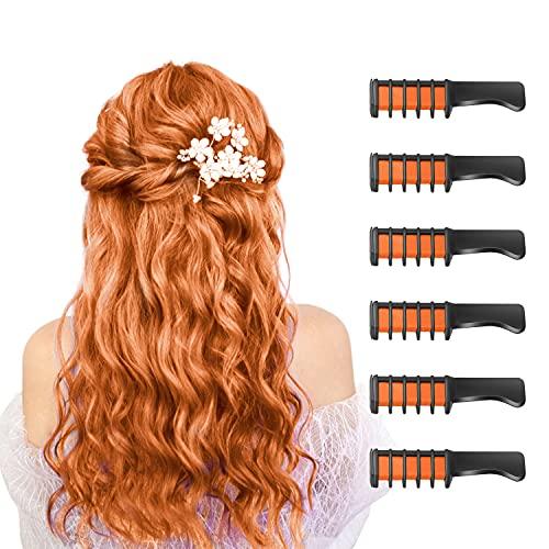 6 Stück Haarkreide Kamm Temporäre Färben HaarfarbeKamm für Kinder Auswaschbar Ungiftig Perfektes für Mädchen Erwachsene Geburtstag Party Erntedankfest Halloween Cosplay(Orange)