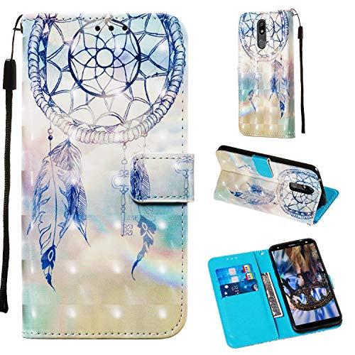 LG K40 Hülle, LG K12 Plus 2019 Wallet Hülle für Mädchen Frauen 3D Relief PU Leder Wallet Flip Cover mit Kreditkartenfächer & Ständer Magnetic Folio Hülle für LG K40 2019 / LG K12 Plus (Traumwindspiel)