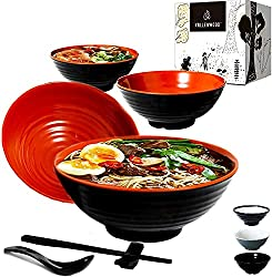 top rated Valenwood 4 noodle bowl (16 pieces) Large melamine ramen bowl set. Asian Chinese Japanese or Pho … 2021