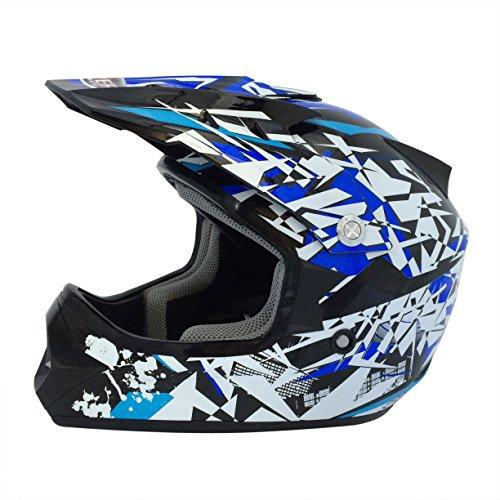 Viper Helmets Motorradhelm Rsx13 Craze Kids MX Helmet, Black/Blue, 49-50 cm