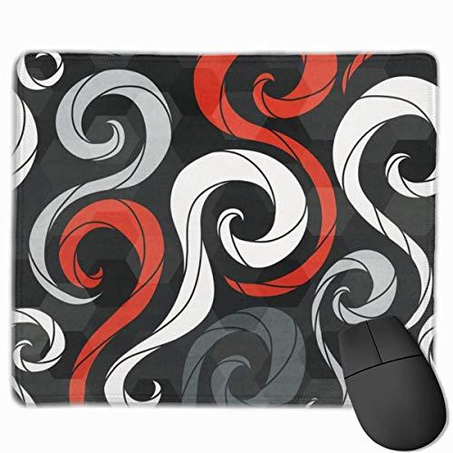 Alfombrilla de ratón Toallas de Playa de Rayas Rojas y Negras Alfombrillas de ratón Alfombrillas de Goma Antideslizantes para Juegos Alfombrillas de ratón