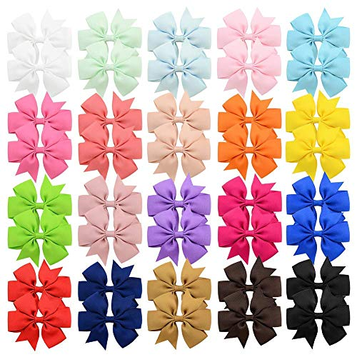 Product Image of the 40 Pcs 3 inch Solid Color Grosgrain Ribbon Baby Girls Hair Bows Alligator Clips...