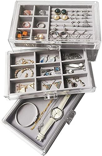 Recet Joyero organizador de joyas con 3 cajones para pendientes, collares, anillos y pulseras (gris transparente)