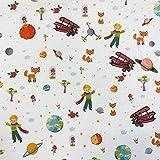 Kt KILOtela Tela de Patchwork - Estampación Digital - 100% algodón - Retal de 50 cm Largo x 140 cm Ancho | Principito - Multicolor, Blanco ─ 0,50 Metro