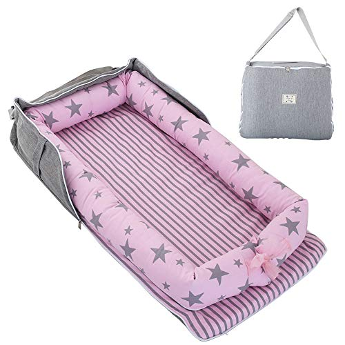 TEALP Tumbona para bebé con Almohadas, Nido Transpirable para Bebé Recién Nacido para Cosleeping, Capazo de Bebé, estrella rosa