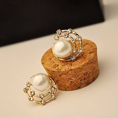 Pendientes de tuerca para mujer, elegantes y lindos con perlas y diamantes de imitación, diseño de luna