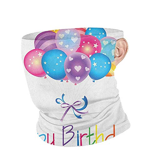 Neck Gaiters for Men Cooling Birthday Balloon Bouquet with Stars and Heart Shapes Best Wishes Joyful Happy Event Print,for Women Men Face Scarf Multicolor 10 x 12 Inch