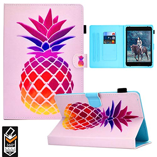 Universal 7.0' Tablet Case, PU Leather Case Card Slots Folio Multi-Angle Stand Cover for Samsung Galaxy Tab E 7.0/ Tab A 7.0/ Fire 7.0 / Lenovo/RCA/Fire 7.0 and More 7.0 inch Tablet -Pink Pineapple