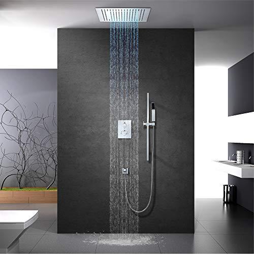 Regenduschenset Thermostat-Duscharmatur mit LED-Thermostatdusche Eingebettete Bad-Deckenduschen,A1:remotecontrol