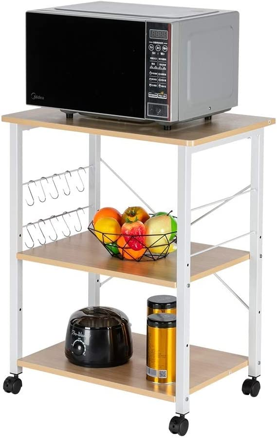 Belovedkai Kitchen Outlet ☆ trend rank Free Shipping Baker's Rack Cart 3-Tiers Tab Storage