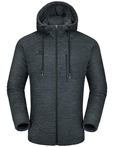 CAMEL Men Fleece Hoodie Jacket Sherpa Lined Full Zip Up Sweatshirt Winter Coat Casual Sport Outwear Black