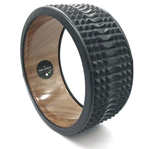 MyYogaWheels Triggerpunkt-Yoga-Rad - Deep Tissue Verspannungen lösen - Physio-Massage Truhe zu öffnen, Rücken, Hüften + Schultern (Rumble Wood + Schwarz)